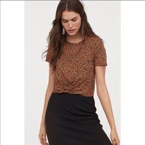H&M leopard print knot detail mid length shirt M